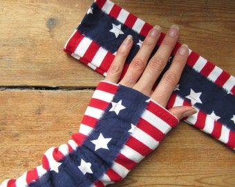 American Flag Arm Sleeves, Arm Warmers, Stars and Stripes, 4th of July Clothing, Fourth of July, Texting Gloves, Upcycled Patriotic Clothing