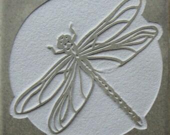 Dragonfly- 4x4 Etched Porcelain Tile