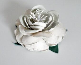 Beautiful White Leather Flower Hair Comb Handmade
