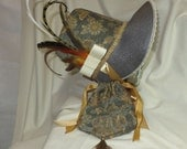 Gray, Gold and Ivory Stovepipe Bonnet and Reticule- Regency, Georgian, Jane Austen Era Bonnet and Purse