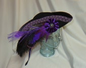 Black Pirate Hat- Fancy Black Wool Tricorn with Purple Trim, and Ostrich, Rooster and Peacock Feathers