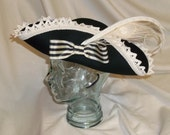 Black and Ivory Pirate Hat- Fancy Black Wool Tricorn with Ivory Lace, Peacock and Pheasant Feathers