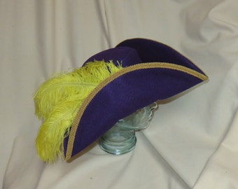 Purple Pirate Hat- Classic Tricorn with Gold Trim and Yellow Feathers