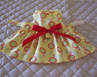 XS-S Yellow with Red Circles and Swirls Dog Dress Clothing Pets