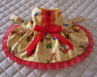 SALE XS-S Dog Dress in Yellow Gold with Christmas Items design Lace Bow Clothes Handmade