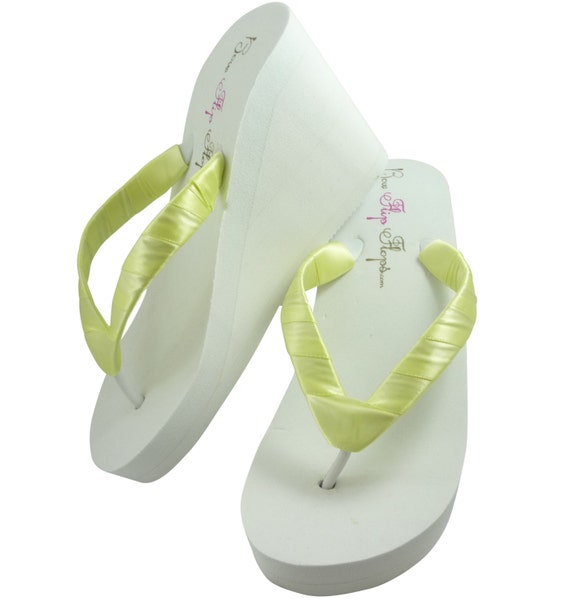 Yellow Maize Wedge Flip Flops- Ivory White- Many Colors, Wedding Flip Flops, Bridal Sandals, Bride Shoes, Plain Satin wrapped straps.