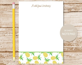 personalized pineapple notepad . pineapple note pad . tropical fruit notepad . personalized stationery . pineapples stationary