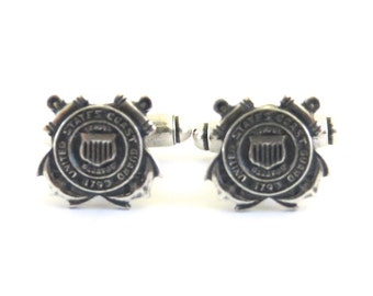 Coast Guard Cuff Links- Sterling Silver Finish- Gifts For Men