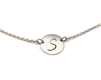 Sideways Initial Disc Necklace- Custom Disc Necklace- Custom Initial Necklace- Circle Necklace Silver- Sideways Disc Medium