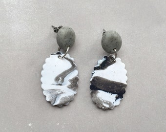"Polymer clay ""Crimpy"" drop earrings granite grey and marbled black & white"