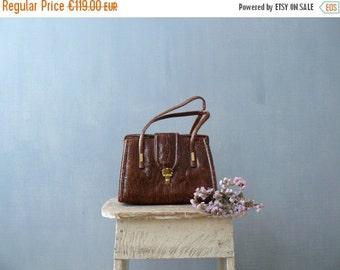 40% OFF SALE // Vintage 1960s handbag. Reptile bag. 60s snakeskin brown bag with flap and buckle