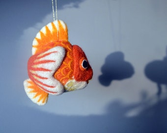Goldfish, needle felted wool ornament ball, MADE TO ORDER