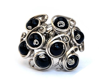Black Multistone Ring, Gothic Ring, Silver Ring, Wire Wrapped Ring, Black Ring, Large Ring, Womens Ring, Silver Wire Ring, Black Stone Ring