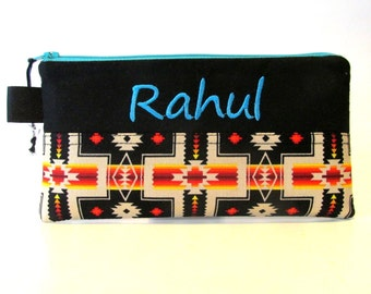 Handmade pencil bag with zipper - Navajo cross -  Native American - embroidery monogram name - unisex bag storage - makeup bag - gift idea