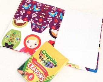 READY TO SHIP - Children's Crayon Wallet Coloring Case - Robert Kaufman Little Kukla Matryoshka Dolls Brights