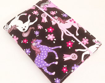 READY TO SHIP - Children's Crayon Wallet Coloring Case - Pink and Purple Ponies