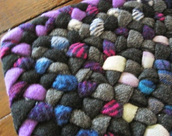 Ready To Ship Hand Braided Wool Rectangle Rug in Black / Grays / Fushia / Lavender/ Teals for Entry / Kitchen / Bathroom from recycled wools
