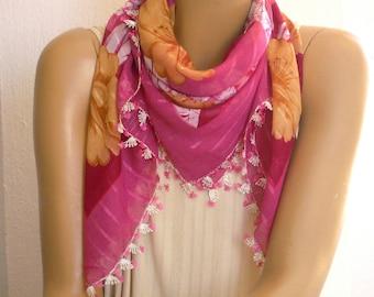 scarf with needle lace trim, turkish oya, fuchsia