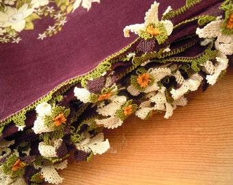 cotton scarf, turkish oya flower, aubergine white