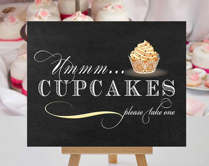 Featured listing image: Cupcake Sign Sign - Printable Event Signage - Bakery Signage - Cupcakery Signs - Ummm Cupcakes Exclusive - 8x10 and 5x7 -  Instant Download