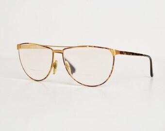 Vintage 80s Laura Biagiotti Eyeglasses / 1980s Gold Tortoise Frames