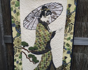 Geisha Green, Blue, and Gold Asian Fabric Aplique Wall Hanging Quilt