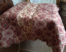 Antique Quilt, Vintage French Boutis Provencal Traditional Printed Floral Cotton Design 1800s