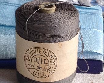 Vintage Cotton Thread, Grey French Spool, Antique Haberdashery