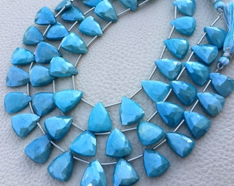 15 Pieces Full Strand,Brand New, Rare Natural Mystic Turquoise Blue Moonstone Faceted Trillion Shape Briolettes,13-14mm size