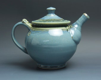 Handcrafted stoneware teapot blue tea pot 40 oz- 3475