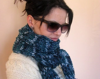 CLEARANCE SALE - 50% OFF- Knit Scarf / Multicolored Chunky Hand Knitted Scarf / Rts / Sale