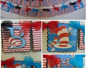 Dr. Seuss Happy Birthday Banner, Cat in the Hat Birthday Banner, 1st birthday, baby shower, birthday banner, birthday name banner