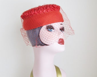 Vintage 1950's Red Halo Pillbox Hat / Netted Veil Formal Classy Ladies Hat