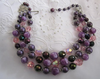Vintage Silver Tone Three Strand Necklace with Purple, Pink and Lavender Glass and Plastic Beads