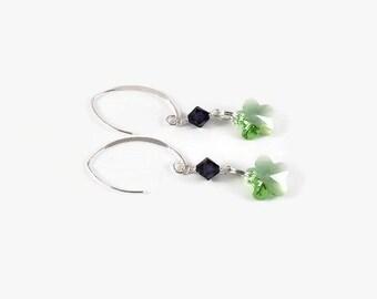 Purple Green Earrings, Crystal Flower Earrings, Swarovski Dangle Earrings, Sterling Silver Jewelry, Silver Earrings