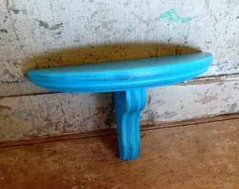 Turquoise Shelf Distressed Wood Wall Decor
