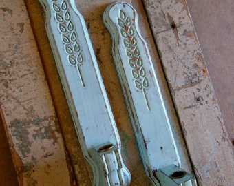 Set of 2 Soft Blue Wall Sconces Wooden Distressed
