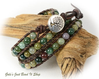Fancy Jasper 3X Beaded Leather Wrap Bracelet, Triple wrap Tree of Life Fancy Jasper gemstone  wrap bracelet,  earthy boho chic, 3x wrap