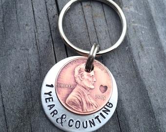 Penny Keychain / Anniversary Keychain- One Year Anniversary- Custom Lucky Penny Keychain Gift