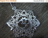 ON SALE Beautiful Om necklace in sterling silver