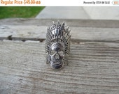ON SALE Adjustable Indian skull ring made in sterling silver