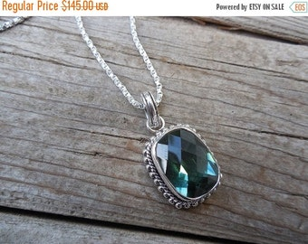 ON SALE Green amethyst necklace handmade in sterling silver 925