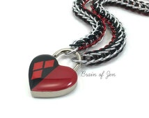 Women's Slave Collar Harley Quinn Inspired Red and Black Heart Lock