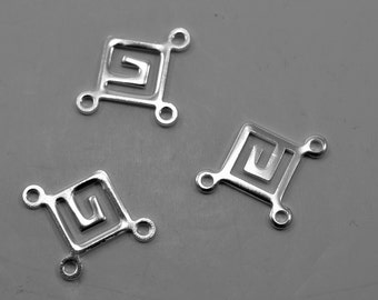 Greek key connectors, silver plated, 8mm, #1700