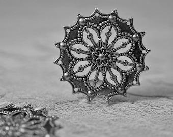 Silvered plated metal filigree drops, 35mm, #347