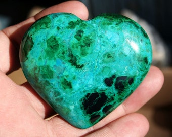 Large Chrysocolla and Malachite Heart Bright Blue and Green Polished Stone Specimen