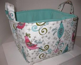 Large Diaper Caddy 10 x 10 x 7 / Organizer Bin / Pink Aqua Birds Feathers - Personalization Available