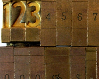 Vintage Ludlow Mats Matrices Brass Numbers 20 Piece Complete Tempo Bold Condensed 60 pt Printing Type