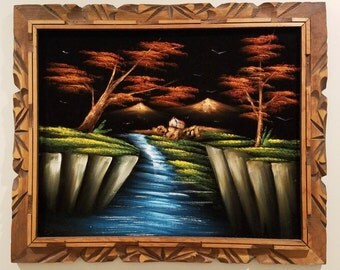Acrylic on Black Velvet Framed Painting- River, Trees, House, Mountains - Vintage circa 1974