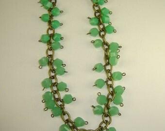 Sea Foam Green Dangle Acrylic Beaded Chain Necklace